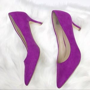 EUC justfab faux suede purple heels sz 9